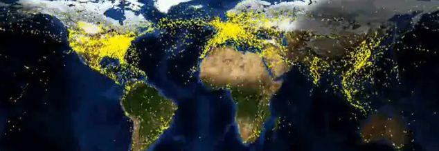 Le trafic aérien mondial pendant 24 heures