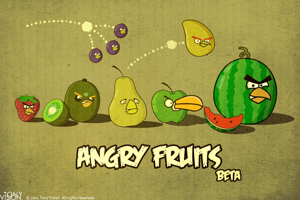 Angry Birds revisité en Angry Fruits par Tony Luo