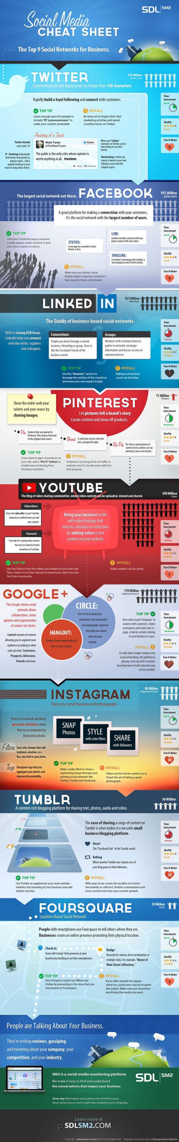Infographie : Tous savoir sur les réseaux sociaux   Social Media Cheat Sheet