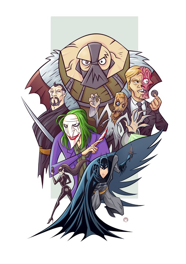 Illustration cartoon de la trilogie Batman – Dark Knight  par k.artoonarts
