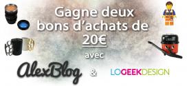 Gagne deux bons d'achats de 20€ chez Logeekdesign