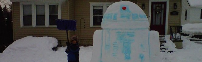 Photo of R2d2 et Jabba the Hutt version neige