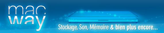 Vous cherchez un spécialiste de la vente en ligne d'accessoires iPhone, iPod et iPad, de disque dur externe ou interne, de mémoire ? Découvrez MacWay !