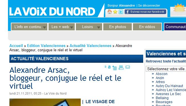 Photo of Alex'Blog sur la Voix du Nord de Valenciennes
