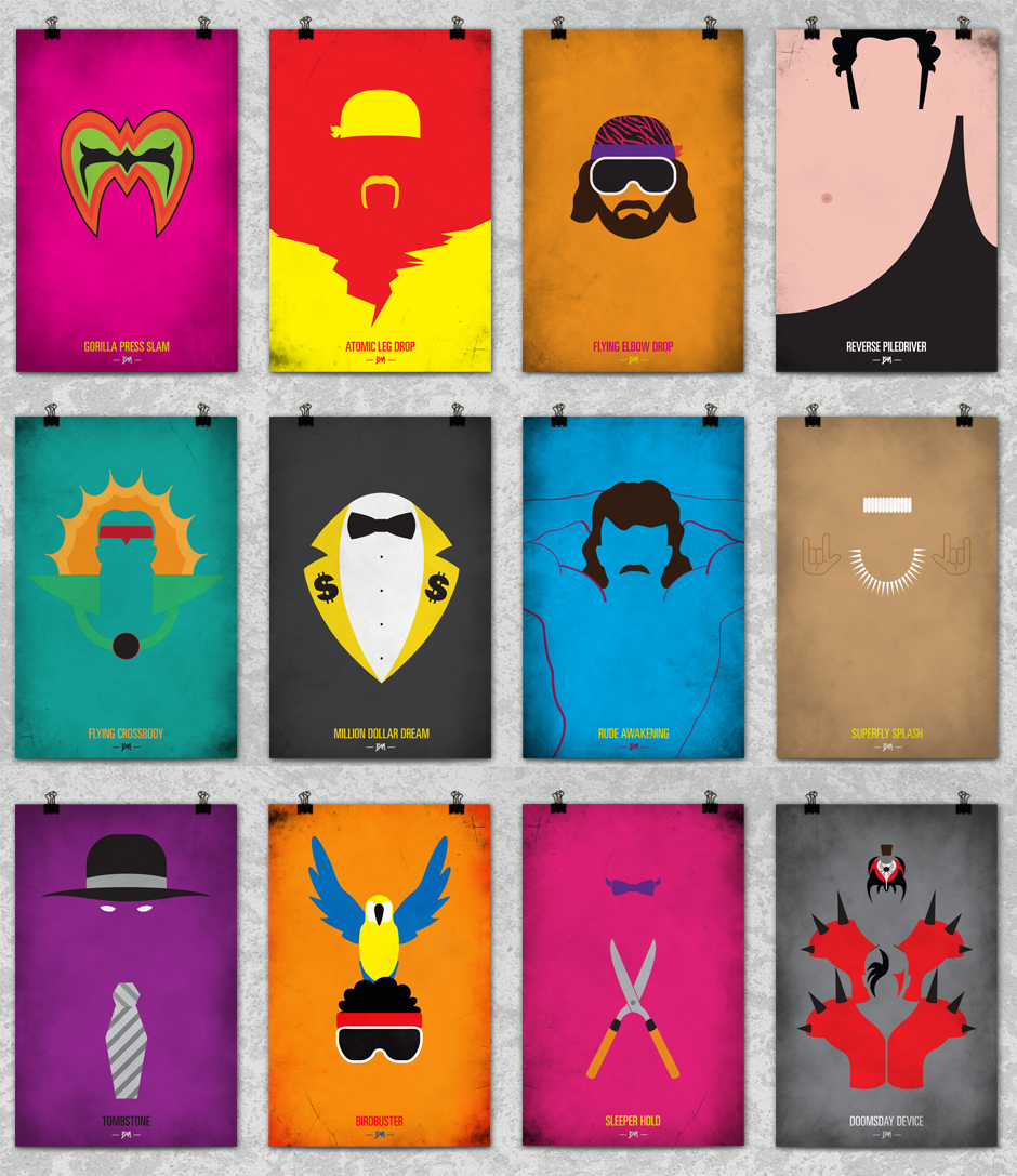 Photo of Affiches minimalsites des legendes de la WWF par Bernie Gross