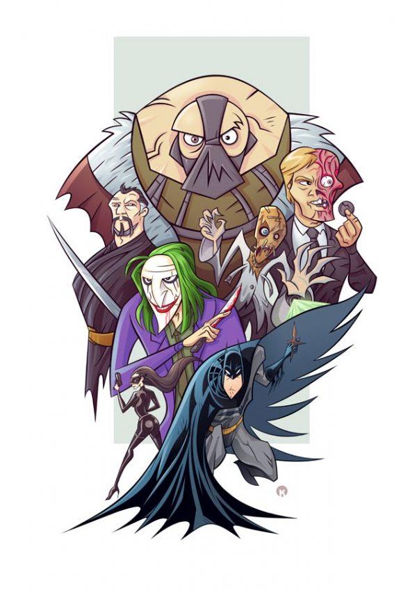 Illustration cartoon de la trilogie Batman - Dark Knight