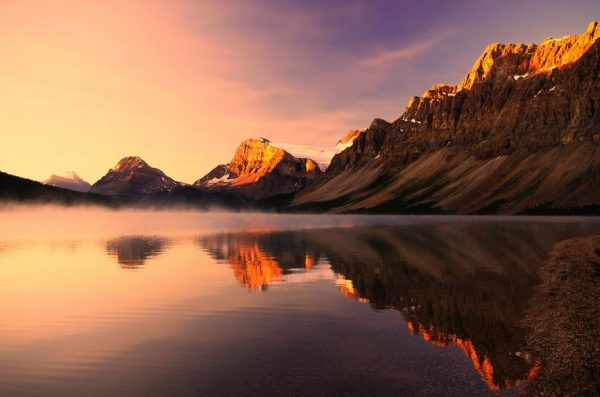 Photographie du jour #322 : Sunrise at Bow lake