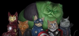 Illustrations des Avengers version chats par Jenny Parks