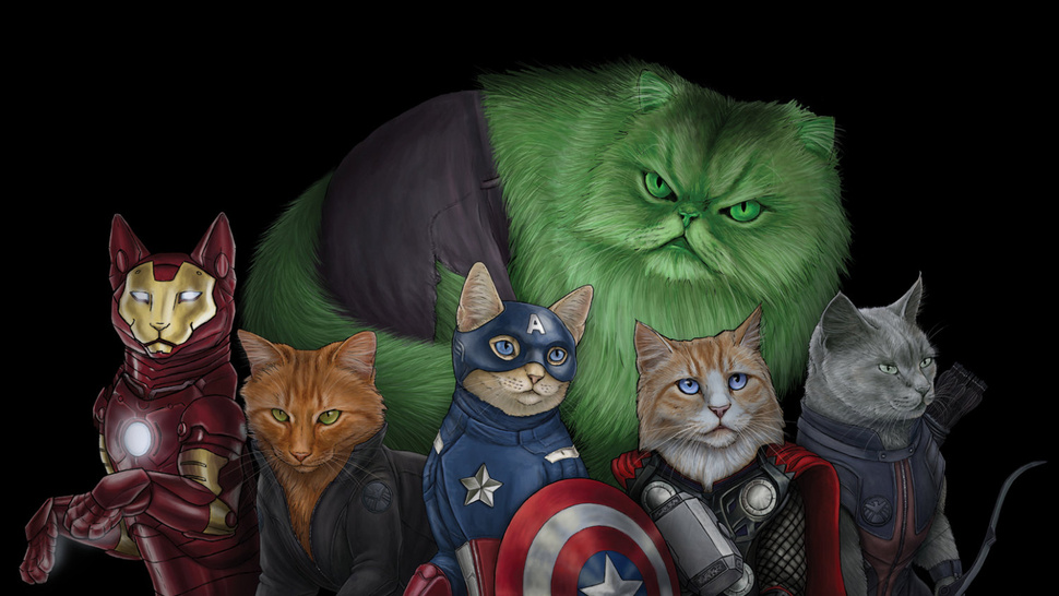 Photo of Illustrations des Avengers version chats par Jenny Parks