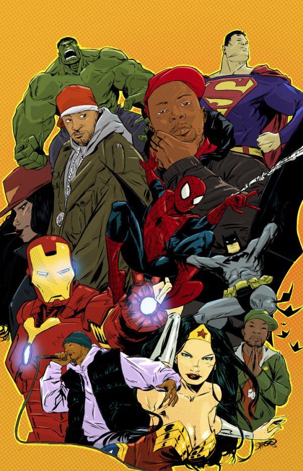 Les illustrations de super-héros par l'artiste Sanford Greene