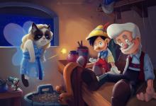 Photo of Les classiques de Disney avec un chat grognon par Eric Proctor