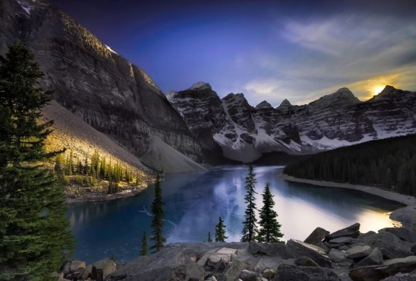 photographie-moraine-lake-sunset