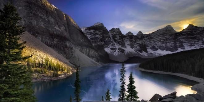 photographie-moraine-lake-sunset