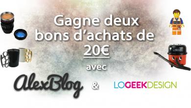 Photo of Gagne deux bons d'achats de 20€ chez Logeekdesign
