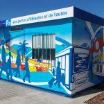 Fresque Parking Relais, avec centre de loisirs municipal