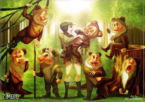 Isaiah Stephens Snow White Seven Dwarfs Leia Ewoks