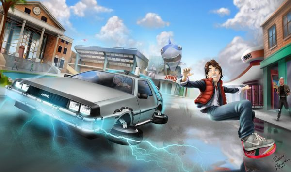 La DeLorean et le hoverboard illustrés par superpascoal