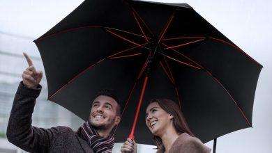 Photo of Découverte du parapluie PLEMO rouge et noir de grande taille