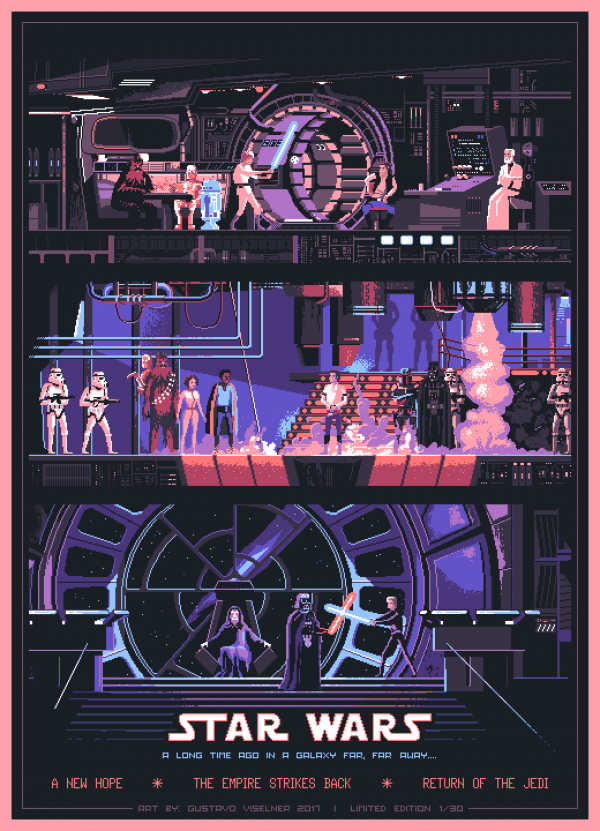Gustavo Viselner Pixel Art Star Wars Poster